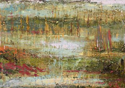 "'Marsh #1' oil on birch panel: 12"" x 24"""