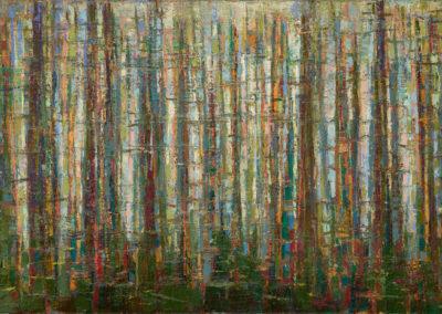 "'Running Trees' oil on canvas: 24"" x 48"""