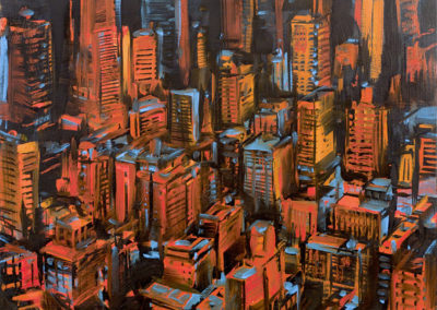 Michael Kerbow - Untitled (red cityscape)