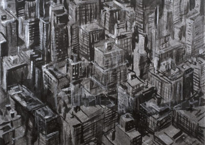 Michael Kerbow - Untitled (silverblack cityscape)